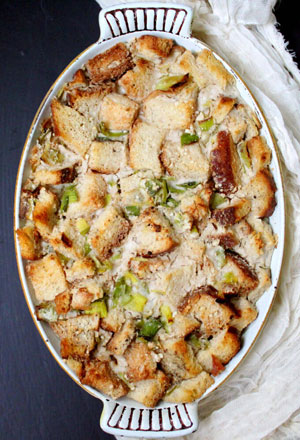 Hearty Boys Savory Leek Bread Pudding